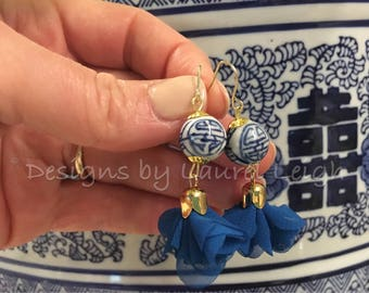 Blue and White Earrings | ROYAL BLUE, dainty, lightweight, statement earrings, chiffon, tulle, chinoiserie, Chinese, dangle