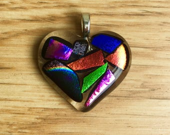 Glass dichroic fused heart pendant