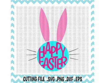 Happy Easter Bunny Ears Svg-Dxf-Eps-Png, Cutting Files For Silhouette Cameo and Cricut, Svg Download.