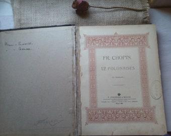 Vintage piano music book, classic piano music, Chopin polonaises, Chopin sonates