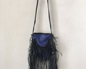Real handmade bag leather, soft&genuine recycling leather with elements of fashionable leather fringe new women's black and blue size-small.