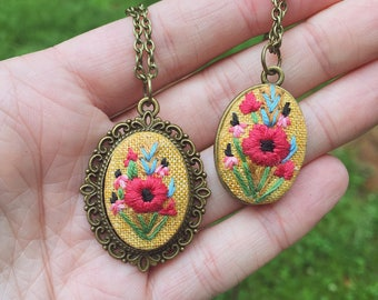 Poppy Hand Embroidered Pendant Necklace, yellow linen, bright colors, spring palette, blue