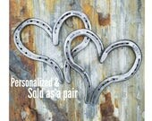 Personalized Anniversary 2 horseshoe hearts, handstamped hearts, rustic metal hearts, horseshoe art, wedding date gift, anniversary gifts