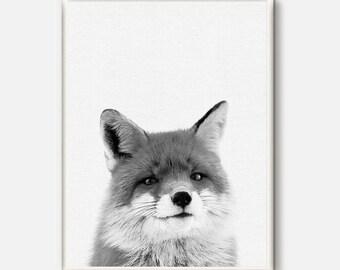 Fox Poster, Nursery Woodland Wall Art, Fox Print, Baby Wall Print, Forest Animals, Printable Woodlands, Woodland Animals, Nursery Forest Art