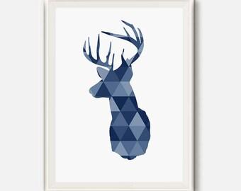 Deer Head Art, Blue Navy, Geometric Deer Print, Geometric Deer Wall Art, Deer Head Triangle Art, Nursery Geometric poster, Kids room prints