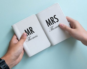 Mr and Mrs - Personalized couple passport cover/holder - Travel Passport Cover - High Quality Handmade Leather | TPS-PPC-616,617