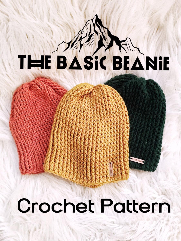 How To Crochet A Beanie Tutorial Beginner Friendly : Crochet PATTERN- Basic Beanie pattern, Beanie pattern ...