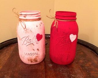 Rustic Valentine Mason Jars, Valentine's Day Heart Mason Jars, Valentine's Day gifts, Valentine's Day Decor
