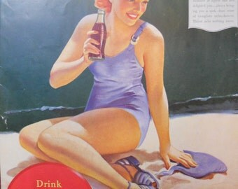 Coca Cola ad. 1940 Coca Cola ad. Billy Rose's Aquacade program cover.  1940 Coca Cola ad with lady in swimsuit.  Vintage Coke ad.