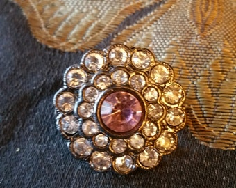 Rhinestone brooch, pink center stone