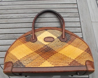 purse Bohemian chic leather and straw - Bohemian chic leather and straw handbag