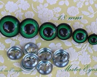 Safety eyes Green  18 mm for plush animal amigurumi bear cat dog plastic eyes
