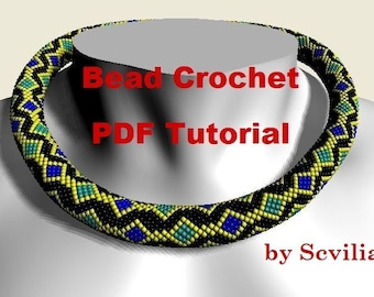 Bead crochet rope pattern for beading necklace «Chain» Four kinds. Instant Download