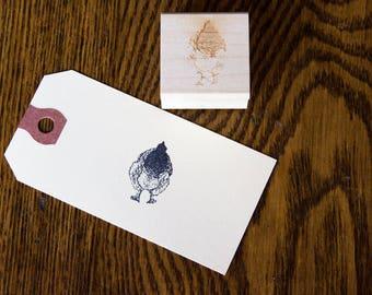 Fluffy Butt Stamp - Hand Drawn Mini Chicken Stamp - Light Brahma - Flock Stamp - Farm & Livestock Branding Stamps