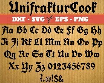 UnifrakturCook Script Monogram Svg Font; Svg, Dxf, Eps, Png; Digital Monogram, Calligraphy Script, Cursive Svg Font, Cricut, Cut File