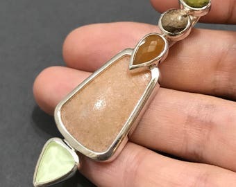 Sterling silver handmade pendant, solid 925 silver with orange and green stone, stamped 925 WK China