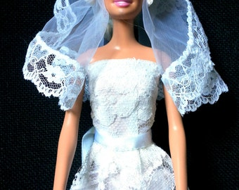 Wedding dress for Barbie long smooth white cotton lace covered. Headband with tulle veil with lace. Hand-stitched