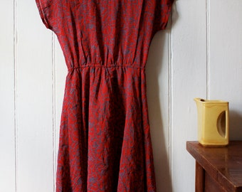 Vintage 1980's red & grey floral dress - Medium