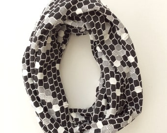 Black & White Honeycomb Infinity Scarf