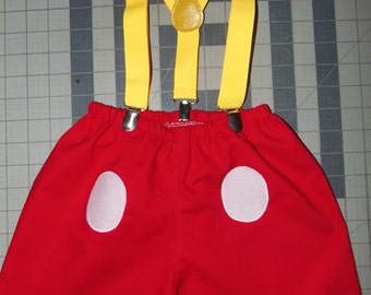 3 pc Mickey Mouse Bow/Shorts/Suspenders    12mo,18mo,24mo   Baby Boy    Ready to ship