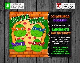 Printable invitation Ninja Turtles in PDF with Editable Texts, TMNT party Birthday Invitation, edit and print yourself!