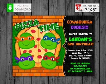Printable invitation Ninja Turtles in PDF with Editable Texts, TMNT party Birthday Invitation, edit and print yourself!