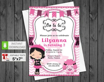 Printable invitation Poddle paris in PDF with Editable Texts, Glamour paris party Invitation, edit and print yourself! Instant Download! N 3