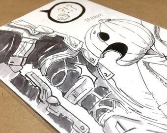 Pumpkin: Original Ink Drawing | original art, ink drawing, anime drawing, manga art, original anime art, inktober, final fantasy xii, ff12