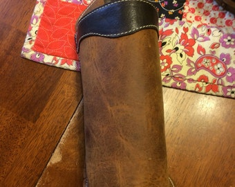 Leather Water Bottle Holder - Free Shipping - Amish Handmade - Genuine - Brown - Made in USA