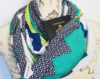 Scarf / Printed Chevron Infinity Scarf with Hidden Zipper Pocket / Travel scarf / Pocket Scarf / Passport Scarf / Mother's day gift