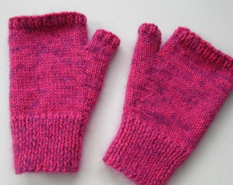 Supersoft hand knitted fingerless mitts - size S