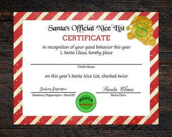 Santas nice list certificate santa printable personalized santa nice list custom santa certificate santa printable santa nice list certificate yadclub Images