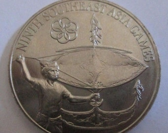 MALAYSIA - 1977 UNCIRCULATED Satu Ringgit coin - Ninth South East  Asia GAMES