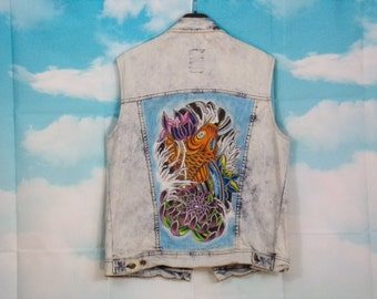 Blue sleeveless jeans sleeveless jacket K4U-Créations Koi hand-painted carp