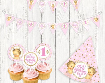 INSTANT DOWNLOAD, Printable Birthday Party Set, Banner, Garlands, Digital File, Pink and Gold, Happy Birthday, Baby Shower, Toppers