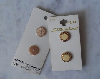 Vintage Button Set / JHB International Buttons / Streamline Buttons / Free Shipping / Vintage Button Cards / Gold Buttons / Creme Buttons /