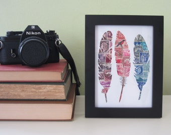 Feather Recycled Postage Stamp Wall Art: 5 x 7 - framed art - original art - vintage stamps - room decor - feathers - unique gift