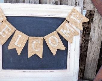 WELCOME Mini Burlap Banner, Mini burlap banner, Hand stenciled banner, Wreath add on, Wreath embellishment