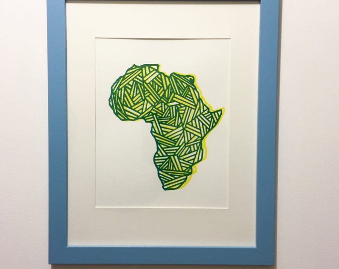 Featured listing image: Framed African Art // Africa Screenprint Wall Hanging // Wall Art // African Diaspora Home Decor