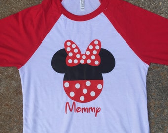 Minnie Mouse head with name raglan, long sleeve shirt, or short sleeve shirt YOUTH