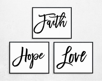 Faith Hope Love Bible Verse Print, Bundled Set of 3 posters, Christian Printable, Digital Home Decor, Printable Poster, Digital Art #304-306