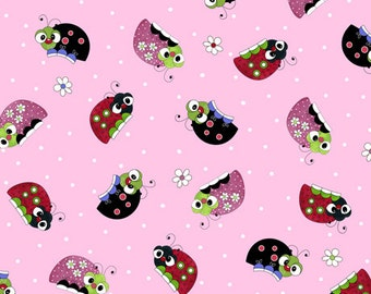 Quilting Treasures - Lazy Lady Bug - All over Lady Bugs on Pink background