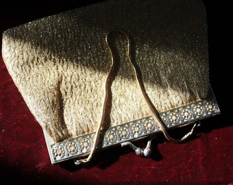 Vintage Textured Gold Lamé and Lurex Evening Purse – Made in Hong Kong 1960s
