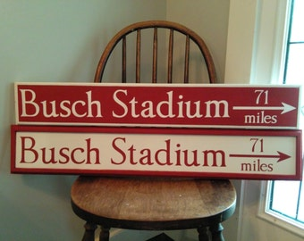 Custom Mileage Sign, Directional Sign, Destination Sign, Hand Painted Busch Stadium Sign, Arrow Sign, Vacation Sign, Location Sign,