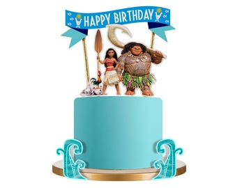 Moana Cake Topper, Moana Birthday Cake Topper, Moana Birthday, Moana Party, Moana Cake, Moana Decor, Not a printable, 4pc
