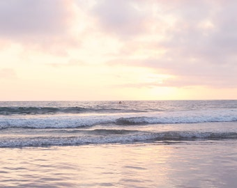 Pink Sunset Print Photography California Art Photo Peaceful Kayak Nature Ocean Beach Photography Pastel Room Wall Art Gift For Beach Lover