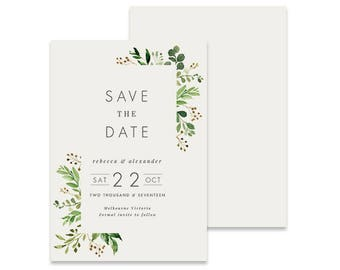 Leaves Save the Date Invitation | Loche | Printable DIY Wedding Invite, Vintage Floral Save the Date with Green Leaves, Modern Text