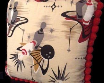 "14"" Pillow Made with Vintage Bowling Barkcloth & Vintage Pom Pom Fringe"