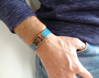 EXPRESS SHIPPING,Men's Blue Leather Bracelet,Men's Jewelry,Copper Magnetic Clasp Bracelet,Men's Cuff Bracelet,Father's Day Gifts,Valentine's