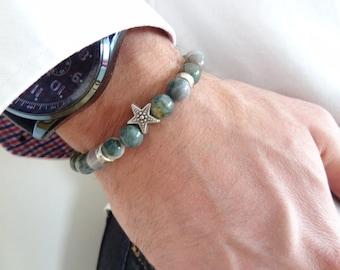 EXPRESS SHIPPING,Moss Agate Bracelet,Star Smybol Bracelet,Unisex Stone Bracelet,Healing Stone Bracelet,Beaded Bracelet,Gift for Her